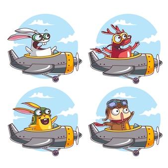 Charaktere fliegen mit einem flugzeug