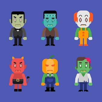 Charaktere halloween monster sammlung teil 1. vektor-illustration.