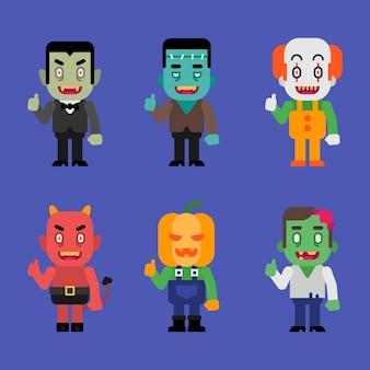 Charaktere halloween monster sammlung teil 2. vektor-illustration.