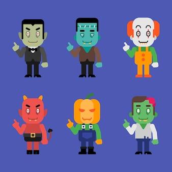 Charaktere halloween monster sammlung teil 3. vektor-illustration.