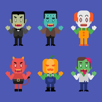 Charaktere halloween monster sammlung teil 4. vektor-illustration.