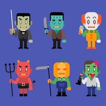 Charaktere halloween monster sammlung teil 5. vektor-illustration.