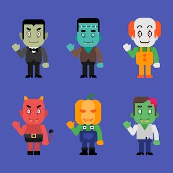 Charaktere halloween monster sammlung teil 6. vektor-illustration.