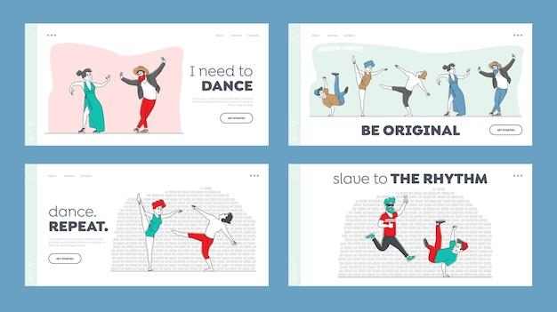 Charaktere in stilvollen kostümen tanzen moderne tänze landing page template set