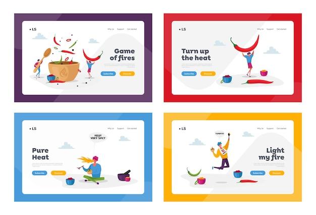 Charaktere kochen scharf würziges essen landing page template set
