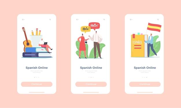 Charaktere lernen spanisch sprachkurs online mobile app seite onboard bildschirmvorlage. winzige charaktere in riesigen lehrbüchern und flaggen-, lehrer- und schülerkonzept. cartoon-menschen-vektor-illustration