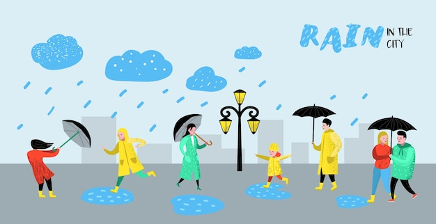Charaktere leute, die im regenplakat gehen