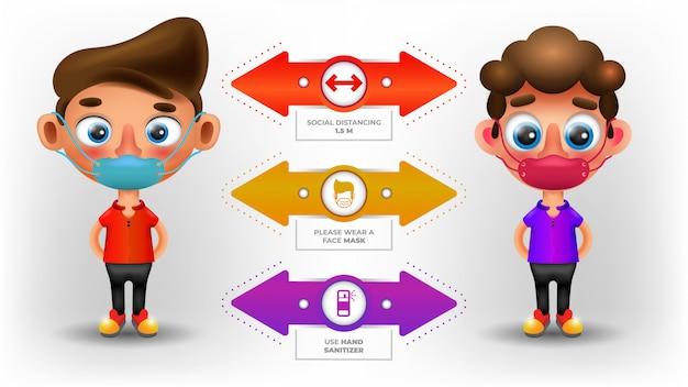 Charaktere mit sozialer distanz infografik