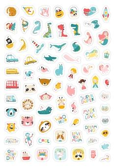 Charaktere sind kindisches stickerpaket sammlungsaufkleberillustrationen mit süßen tieren weihnachten