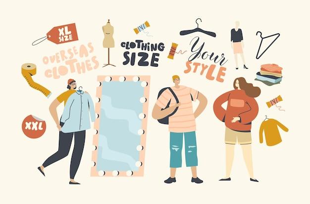 Charaktere tragen übergroße kleidung. junge frau in übergröße wählen sie ein modisches kleid im laden