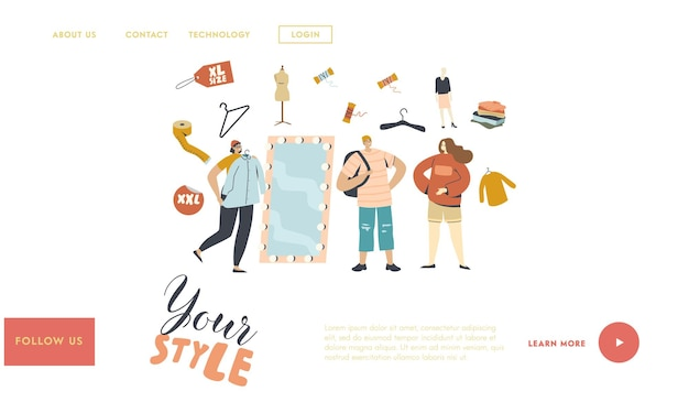 Charaktere tragen übergroße kleidung landing page template.