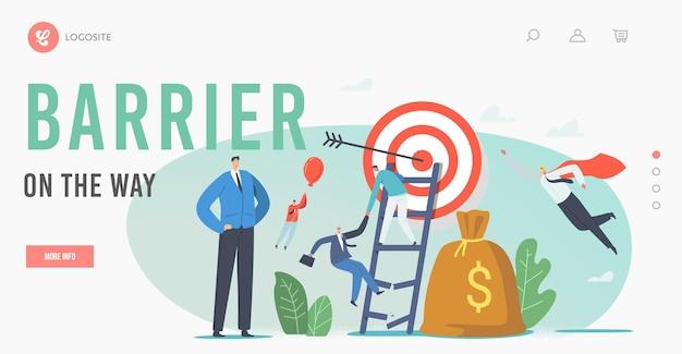 Charaktere überwinden hindernisse in der business-landing-page-vorlage. geschäftsleute klettern auf kaputte leiter, um das ziel zu erreichen, fliegen auf ballon. führung, kollegenverfolgung. cartoon-menschen-vektor-illustration