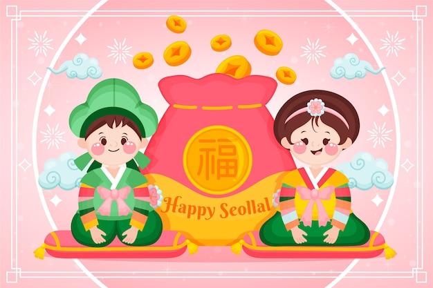 Charaktere und geldbörse mit glücksgeld koreanisches neujahr