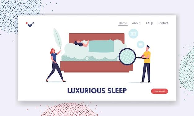 Charaktere untersuchen orthopädische matratzen auf korrekte landing page template für luxuriösen schlaf. mann mit lupe und frau mit feder im schlafzimmer mit schlafendem mädchen. cartoon-menschen-vektor-illustration