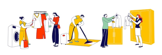 Charaktere verwenden dampfbügeleisen für die kleiderpflege und reinigung. wäscherei-personal dampf von kleidungsstück auf kleiderbügel, mann sauberer lappen im hotel, leute, die kleidung dämpfen, hausarbeit. lineare vektorillustration