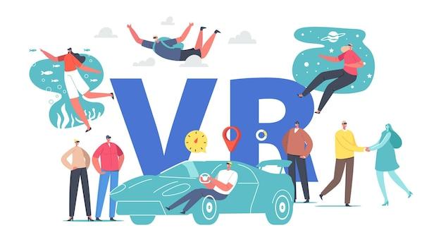 Charaktere verwenden eine vr-brille. menschen, die auto fahren, fallschirmspringen, weltraum- und ozeanreisen, dating virtual und augmented reality