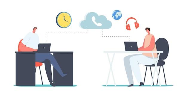 Charaktere verwenden ip-telefonie, die an büroschreibtischen sitzt. voip-technologie, voice-over-ip-telekommunikationssystem, telefonkommunikation über eine drahtlose cloud-verbindung. cartoon-menschen-vektor-illustration