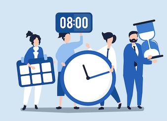 Charaktere von den Leuten, die Zeitmanagementkonzept halten