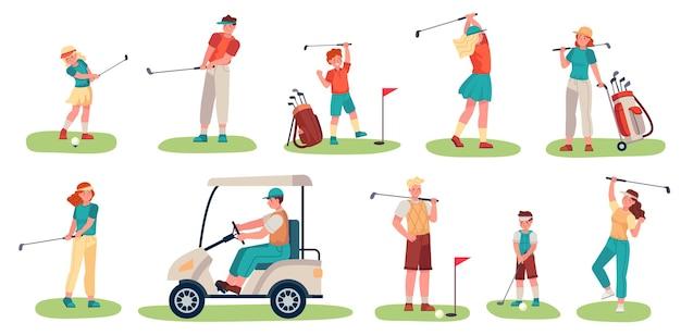 Charaktere von golfspielern. männer, frauen und kinder, die golf auf grünem gras spielen, golfer mit schlägern und ausrüstung, vektorset für sportliche aktivitäten. teenager-charaktere in uniform, golfwagen fahren