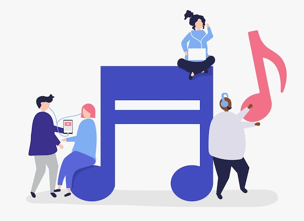 Charaktere von leuten, die musikillustration hören