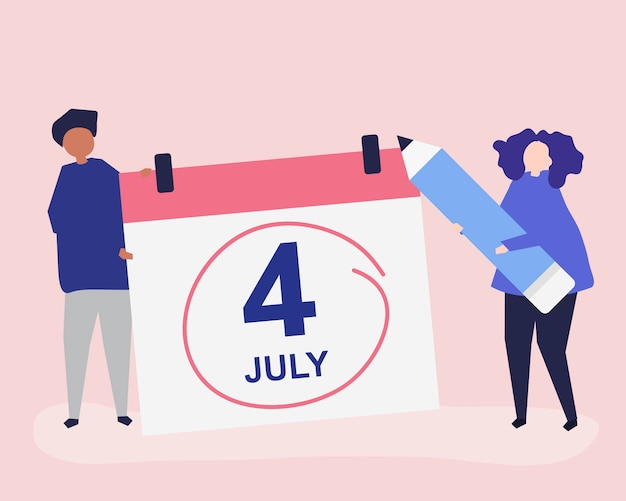 Charaktere von leuten und von viertel von juli-konzeptillustration