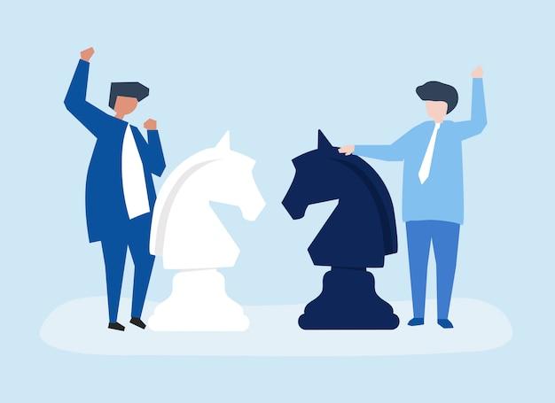 Charaktere von zwei geschäftsmännern, die schachillustration spielen