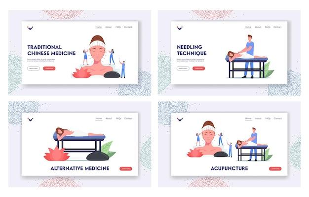 Charaktere wenden akupunktur-therapie-landing-page-vorlagensatz an. alternativmedizin mit injektionspunkten am körper. traditionelle chinesische medizin zur vorbeugung von krankheiten. cartoon-menschen-vektor-illustration