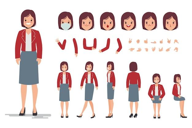 Charaktererstellungsdesign der jungen frau für flaches design der animationskarikatur