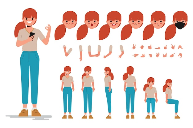 Charaktererstellungsentwurf der jungen frau für das flache design der zeichentrickfilmkarikatur