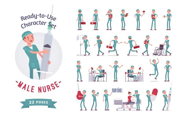 Charaktererstellungssatz der männlichen krankenschwester