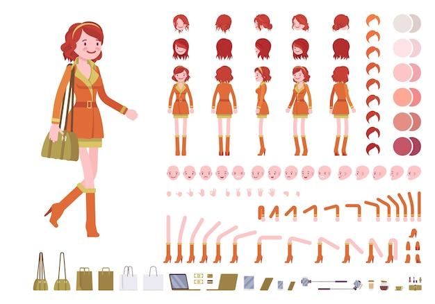 Charaktererstellungssatz der rothaarigen dame