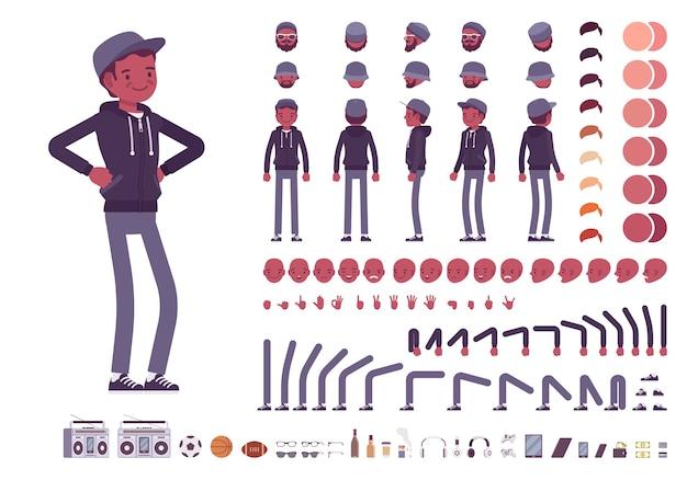 Charaktererstellungssatz des jungen schwarzen mannes