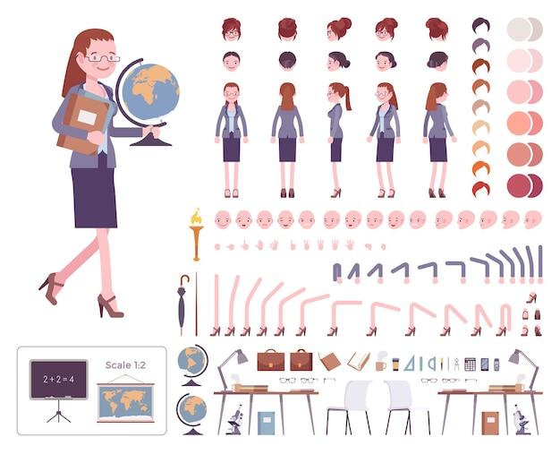 Charaktererstellungssatz für lehrerinnen Premium Vektoren