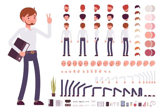 Charaktererstellungssatz für männliche angestellte
