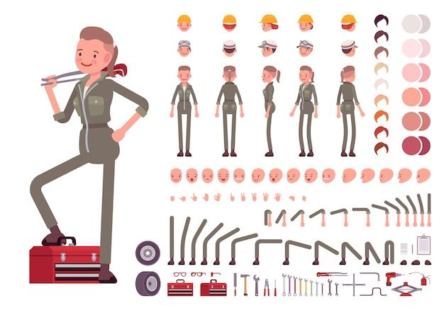 Charaktererstellungssatz für weibliche mechaniker