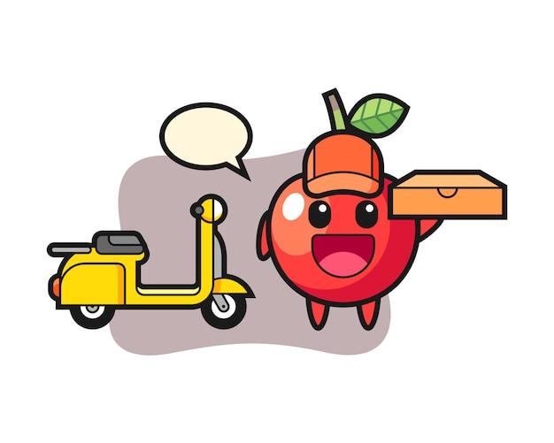 Charakterillustration der kirsche als ein pizzabote, niedlicher stilentwurf