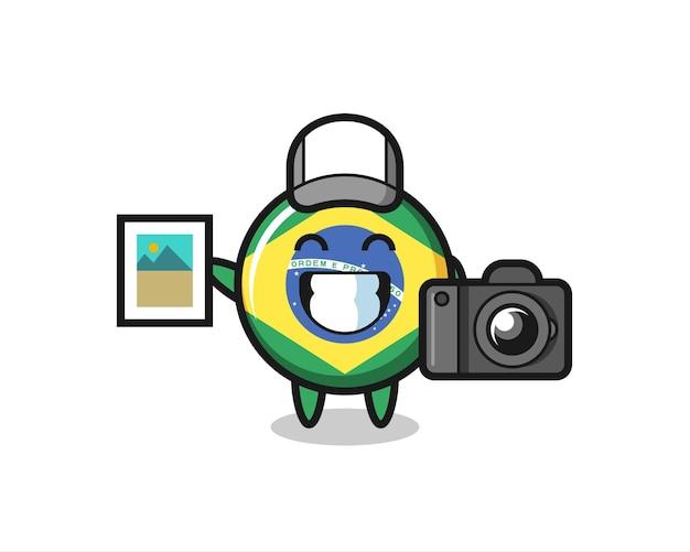 Charakterillustration des brasilianischen flaggenabzeichens als fotograf, niedliches design für t-shirts, aufkleber, logo-elemente