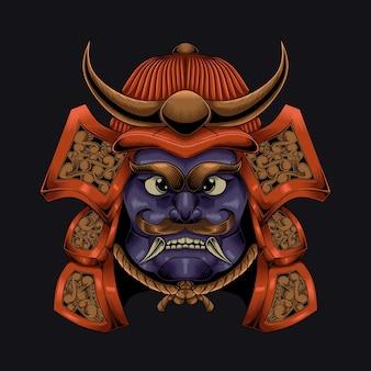 Charakterillustration des samurai-helms im alten stil