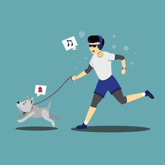 Charakterillustration einer person, die mit seinem hund joggt