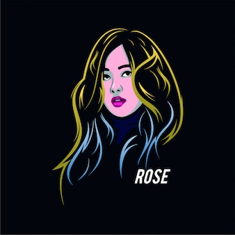 Charakterillustration schwarze rosa rose