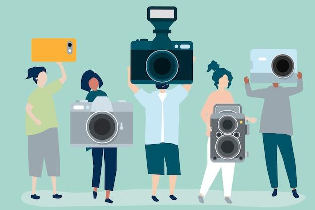 Charakterillustration von fotografen mit kameras