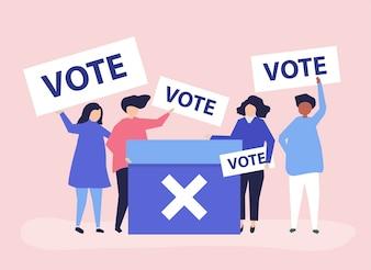 Charakterillustration von Leuten mit Abstimmungsikonen
