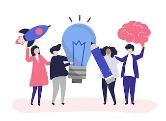 Charakterillustration von Leuten mit kreativen Ideenikonen