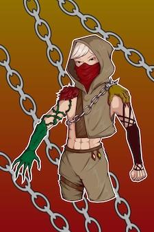 Charakterillustration von rose und dämon