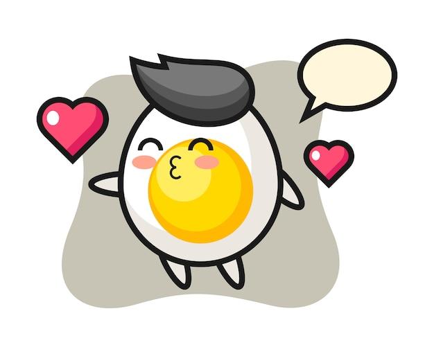Charakterkarikatur des gekochten eies mit kussgeste