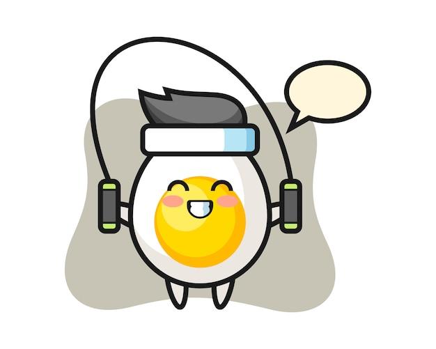 Charakterkarikatur des gekochten eies mit springseil