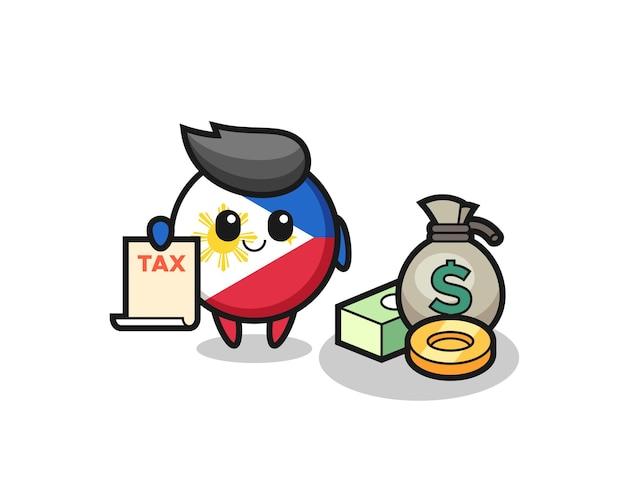Charakterkarikatur des philippinischen flaggenabzeichens als buchhalter, niedliches design für t-shirt, aufkleber, logo-element