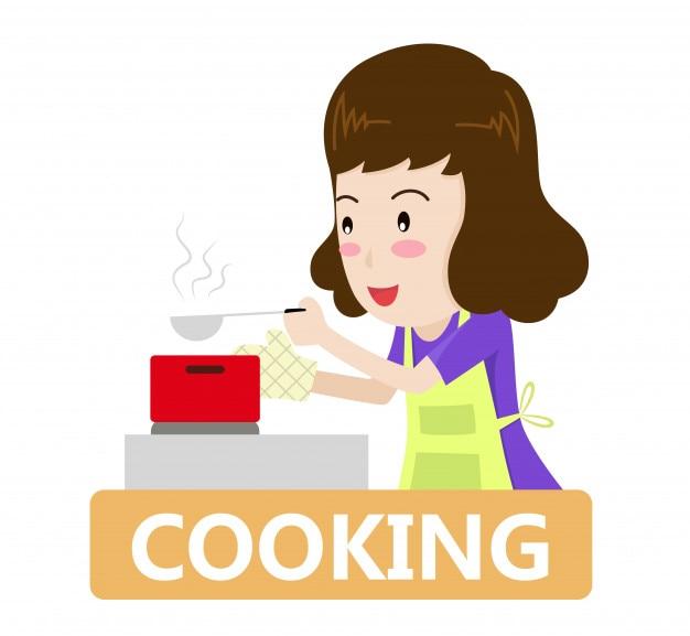 Charakterkarikatur eine frau, die in der küche kocht