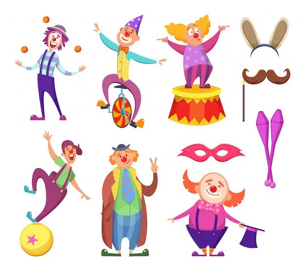 Charakterkarikaturclown, schauspieler und spaßvogelleistung im kostüm