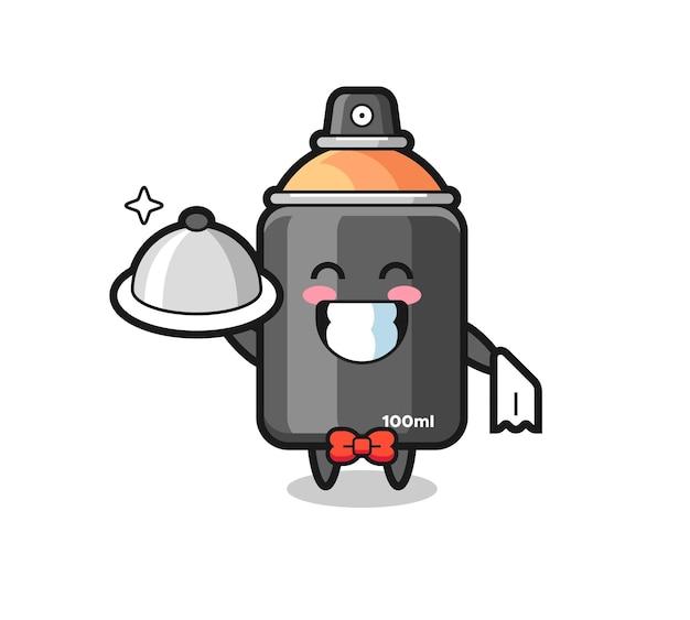 Charaktermaskottchen aus sprühfarbe als kellner, süßes design für t-shirt, aufkleber, logo-element